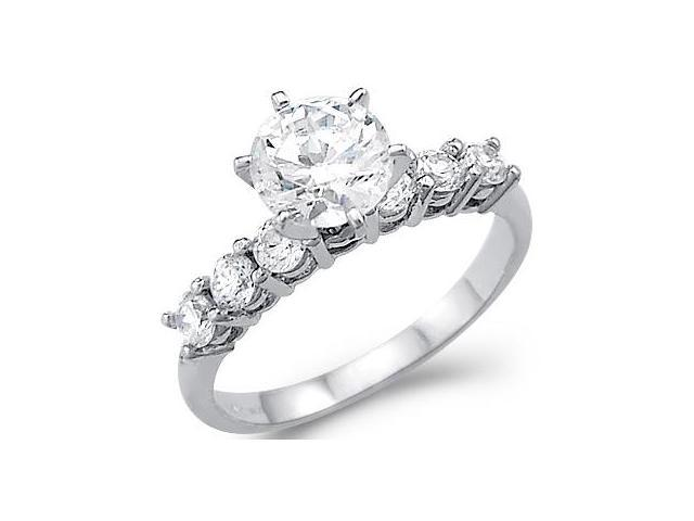 CZ Engagement Ring Round Solitaire 14k White Gold Bridal (1.50 Carat)