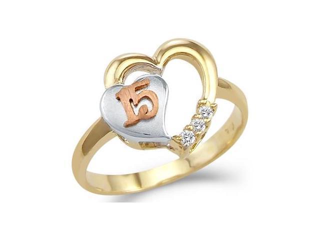 Quinceanera Heart Ring CZ 14k Yellow Gold 15 Birthday Cubic Zirconia