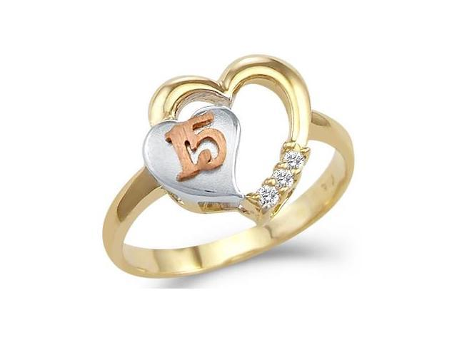Quinceanera Heart Ring CZ 14k Yellow Gold 15 Birthday Cubic Zirconia