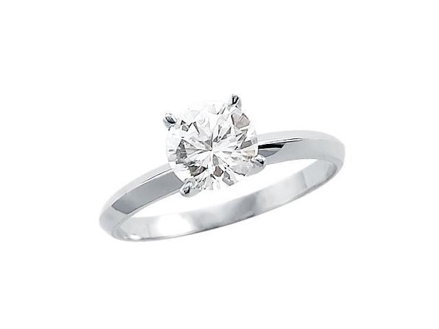 Solitaire Engagement Ring Round Cubic Zirconia 14k White Gold (1 CT)