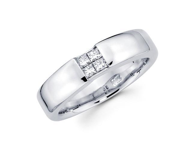 Mens Princess Diamond Anniversary Ring 14k White Gold Band (1/3 Carat)