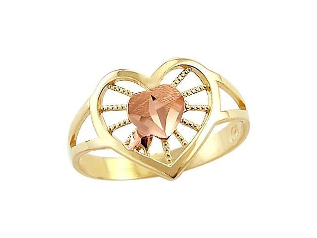 Heart Ring 14k Rose Yellow Gold Band Womens Anniversary