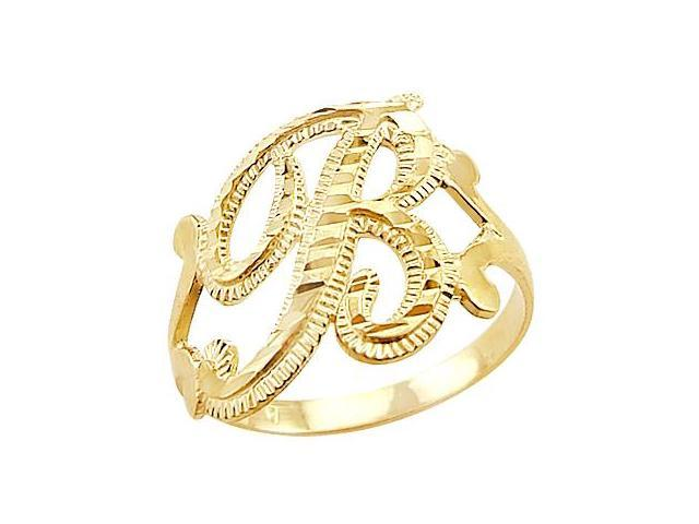 Letter Ring B Initial Band 14k Yellow Gold Cursive Alphabet