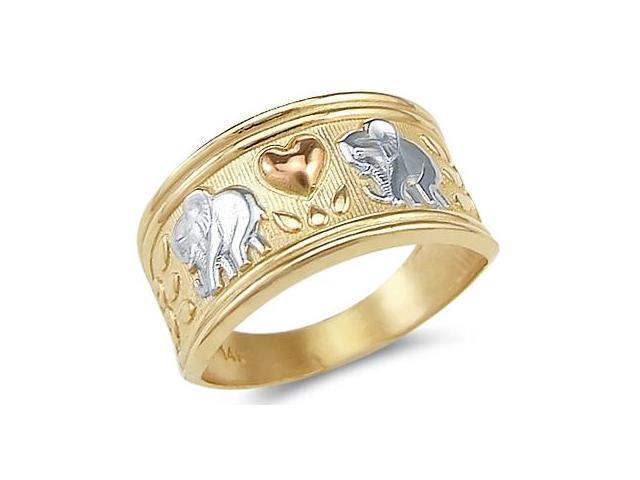 Elephant Love Heart Ring 14k Yellow Gold Band