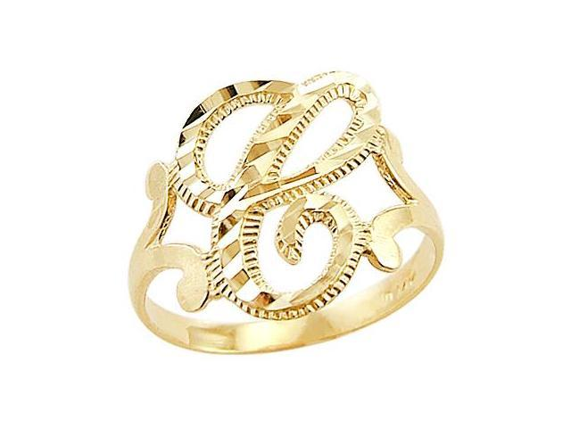 Letter Ring C Initial Band 14k Yellow Gold Cursive Alphabet