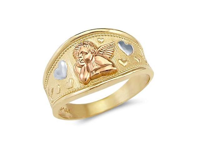 Heart Angel Ring 14k White & Rose & Yellow Gold Band