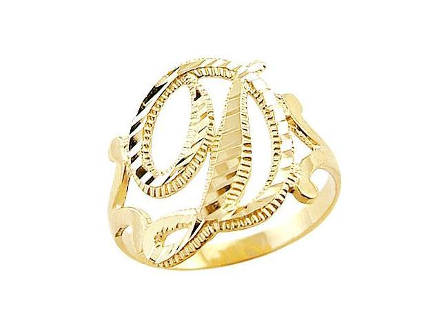Letter Ring D Initial Band 14k Yellow Gold Cursive Alphabet
