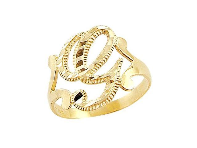 Letter Ring G Initial Band 14k Yellow Gold Cursive Alphabet