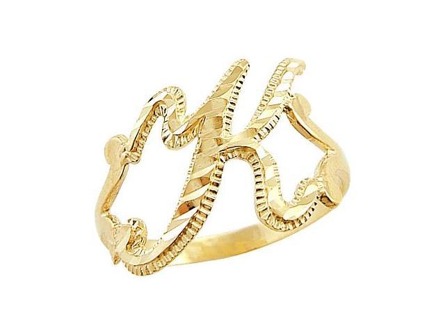 Letter Ring K Initial Band 14k Yellow Gold Cursive Alphabet