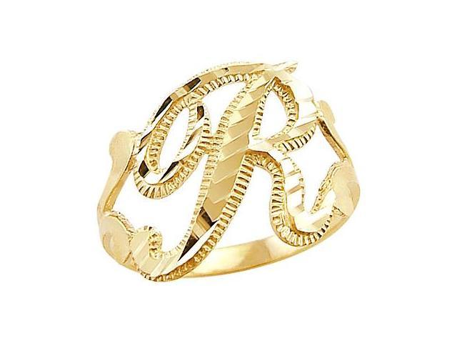 Letter Ring R Initial Band 14k Yellow Gold Cursive Alphabet