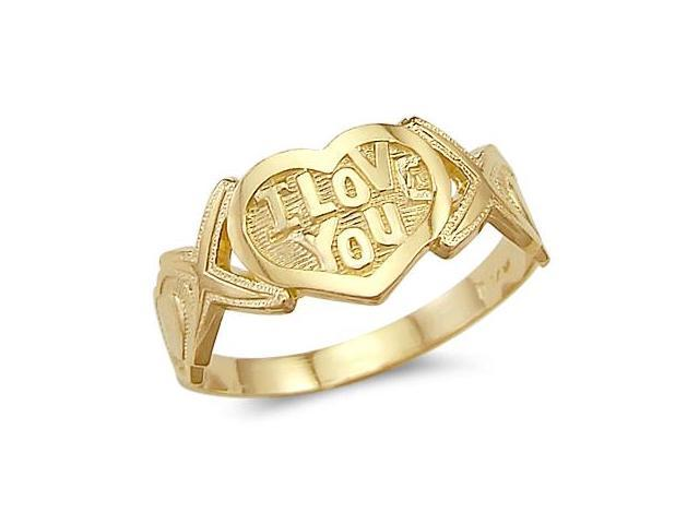 I Love You Heart XOX Ring 14k Yellow Gold Band