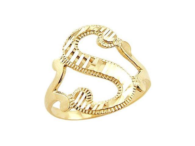 Letter Ring S Initial Band 14k Yellow Gold Cursive Alphabet