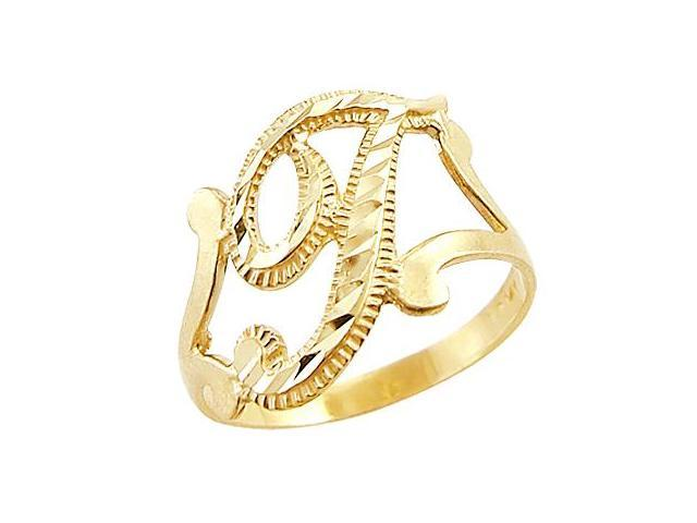 Letter Ring T Initial Band 14k Yellow Gold Cursive Alphabet