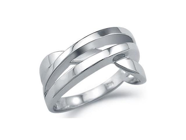 Unique Twist Fashion Ring 14k White Gold Band