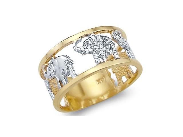 Animal Elephant Ring 14k White Yellow Gold Band