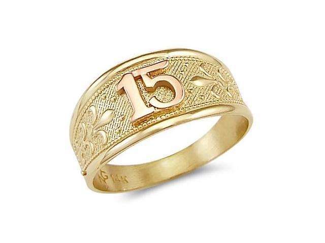 Quinceanera Ring 14k Rose & Yellow Gold Band 15 Birthday