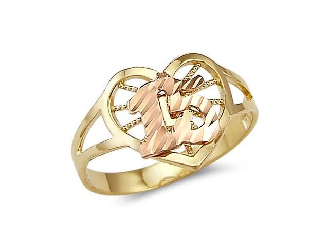 15 Birthday Heart Quinceanera Ring 14k Rose & Yellow Gold Band