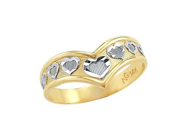 Heart Design Ring 14k Yellow Gold Band