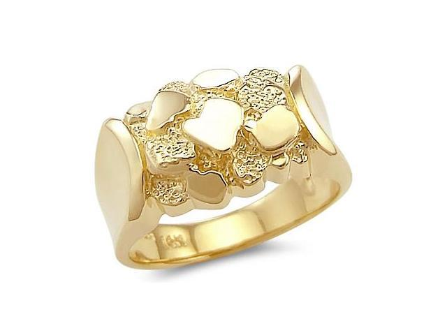 Men's Nugget Ring 14k Yellow Gold Band