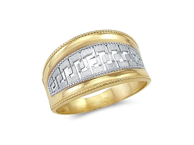 Greek Design Fashion Ring 14k White Yellow Gold Band