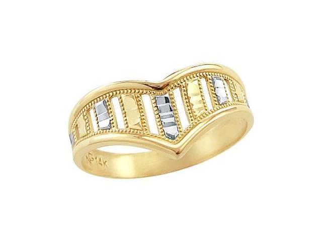 Fashion Ring 14k White and Yellow Gold Band Thumb