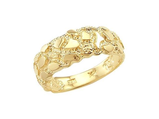 Men's Nugget Band 14k Yellow Gold Fashion Ring