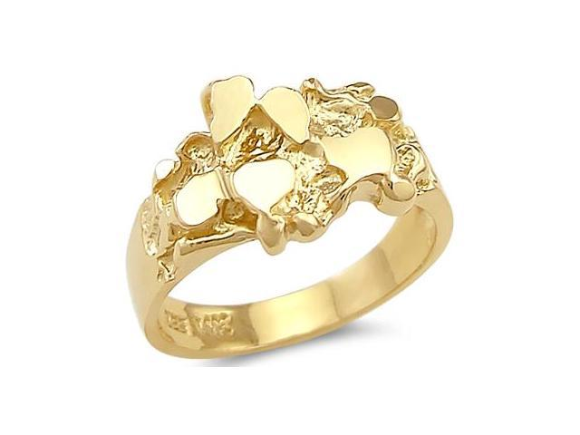 Men's Nugget Band 14k Yellow Gold Pinky Ring