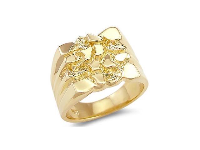 Men's Nugget Ring 14k Yellow Gold Large Fashion Band