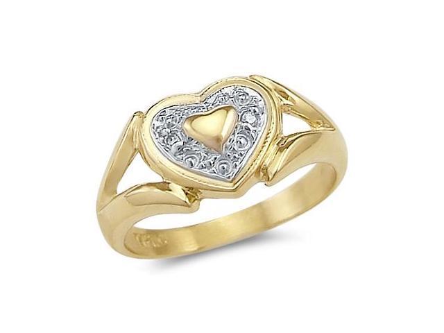 Heart Ring 14k White Yellow Gold Anniversary Band Love