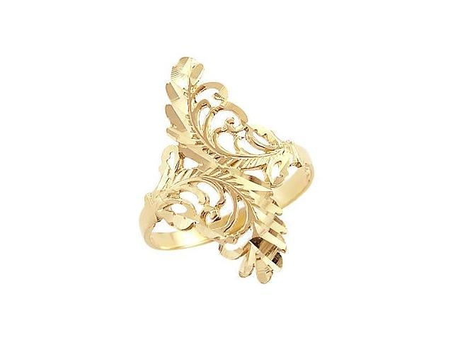 Leaf Ring Design Band 14k Yellow Gold Fashion Anniversary 1.00 inch