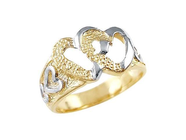 Two Hearts Ring 14k White Yellow Gold Love Band