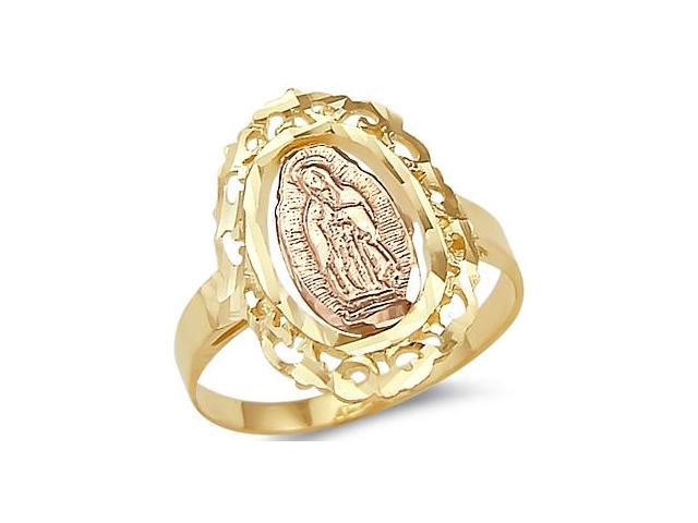 Virgin Mary Lady Of Guadalupe Ring 14k Yellow Rose Gold Band