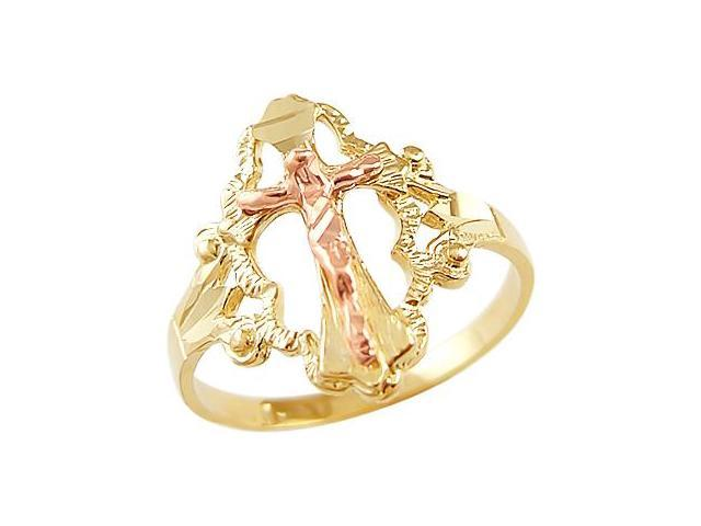 Cross Crucifix Ring 14k Rose Gold Yellow Gold Religious Band