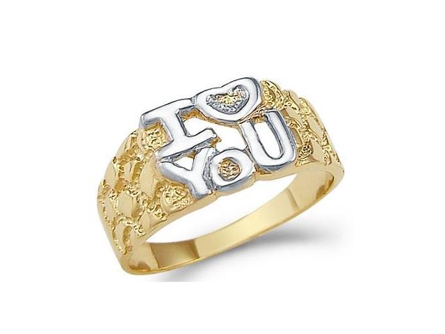 I Love You Heart Nugget Ring 14k Yellow White Gold Band