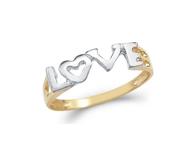 Heart Love Ring 14k Yellow & White Gold Band Womens