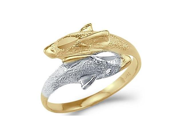 Swim Two Dolphin Ring 14k Yellow White Gold Band