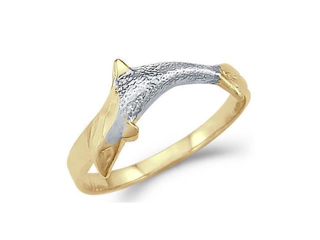 Animal Dolphin Fish Ring 14k Yellow White Gold Band