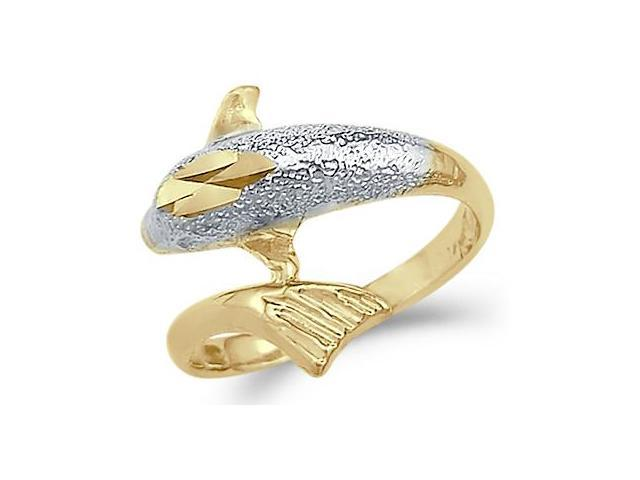 Dolphin Ring 14k White & Yellow Gold Band Animal Fish
