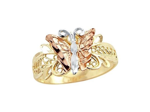Butterfly Ring 14k Multi-Tone Gold Band