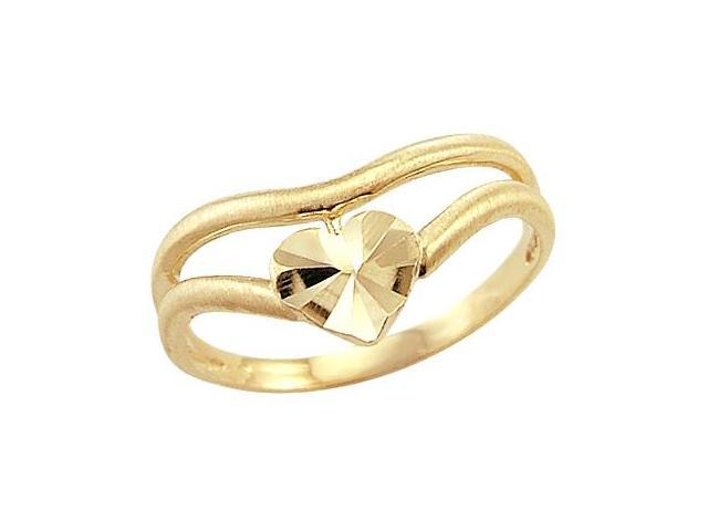 Heart Band 14k Yellow Gold Right Hand Fashion Ring