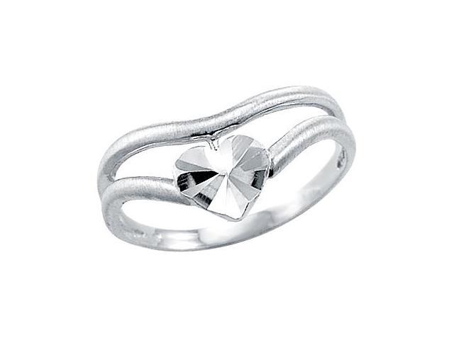 Heart Band 14k White Gold Right Hand Fashion Ring