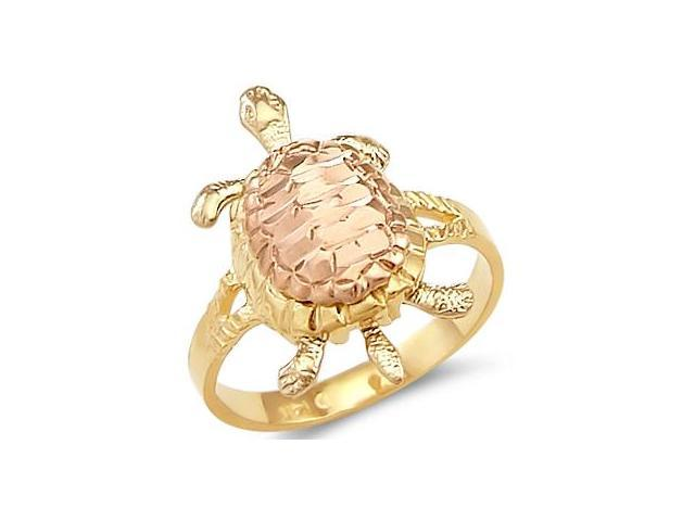 Turtle Ring 14k Rose & Yellow Gold Womens Band