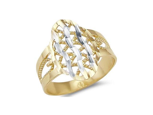 Cocktail Fashion Ring 14k Yellow White Gold Band