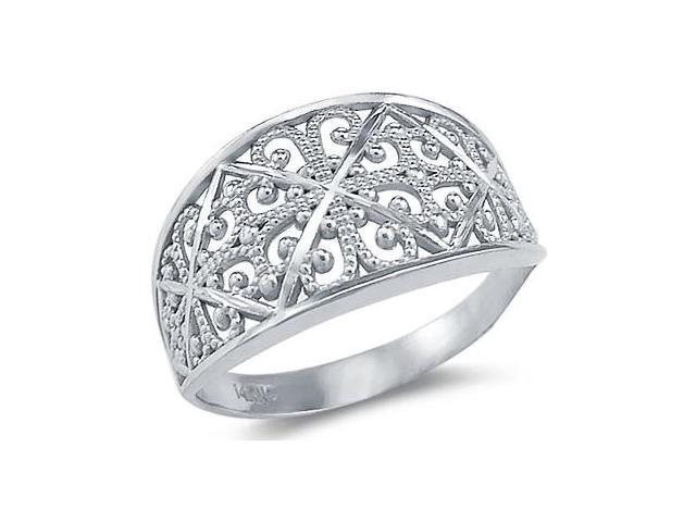 Womens Anniversary Ring 14k White Gold Band Fashion