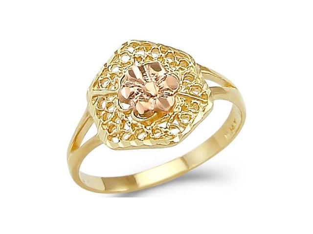 Flower Ring 14k Rose Yellow Gold Band