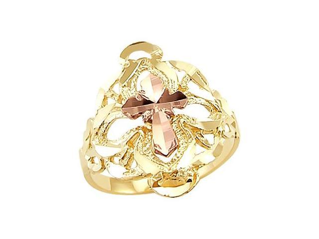 Fashion Cross Ring 14k Rose Gold and Yellow Gold Band