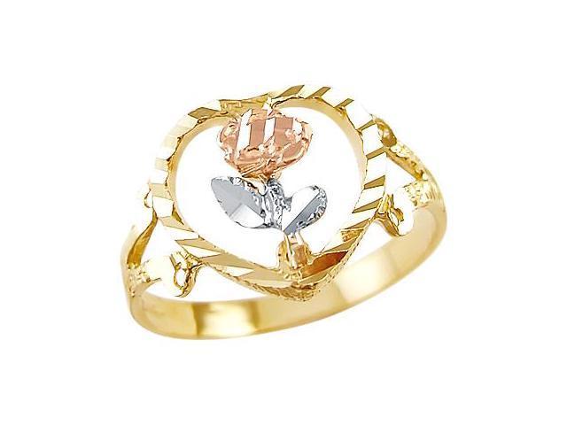 Flower Fashion Ring 14k White Yellow Rose Gold Band