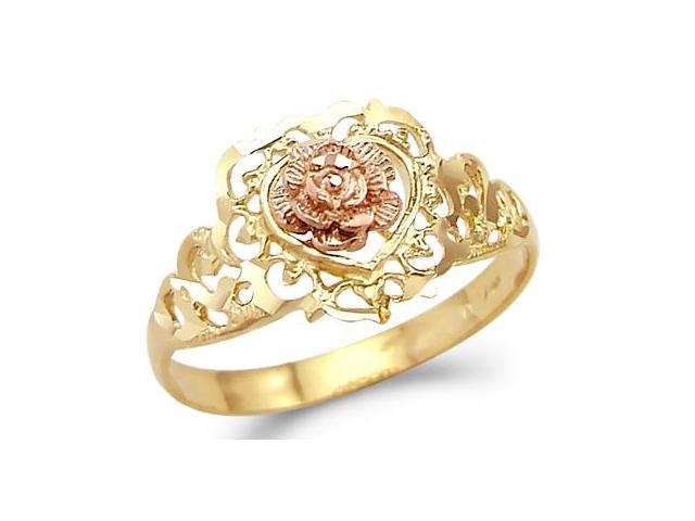 Heart Flower Ring 14k Rose Yellow Gold Band