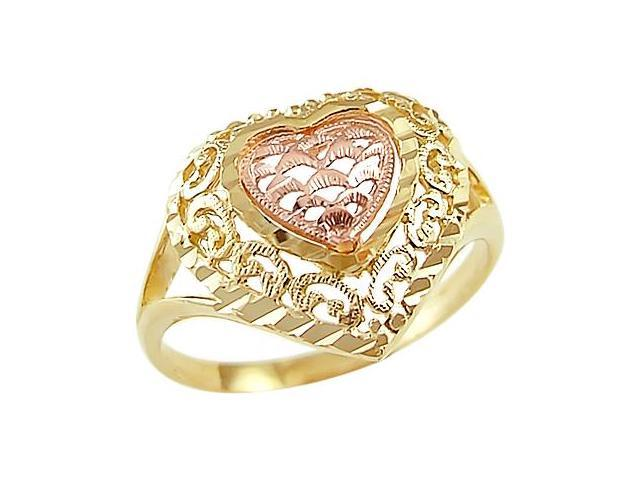 Heart Ring 14k Yellow Rose Gold Love Band