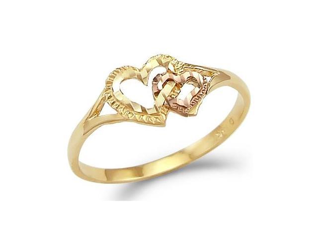 Two Hearts Ring 14k Yellow Rose Gold Love Band